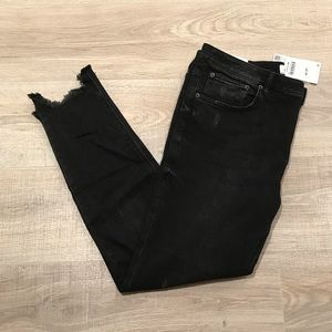 Zara black skinny jeans with ripped ankles